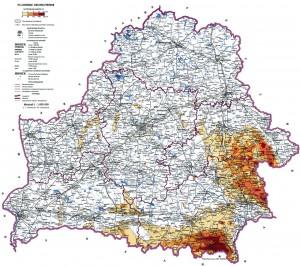 Карта загрязнения территории Республики Беларусь цезием-137 по состоянию на 2004 год