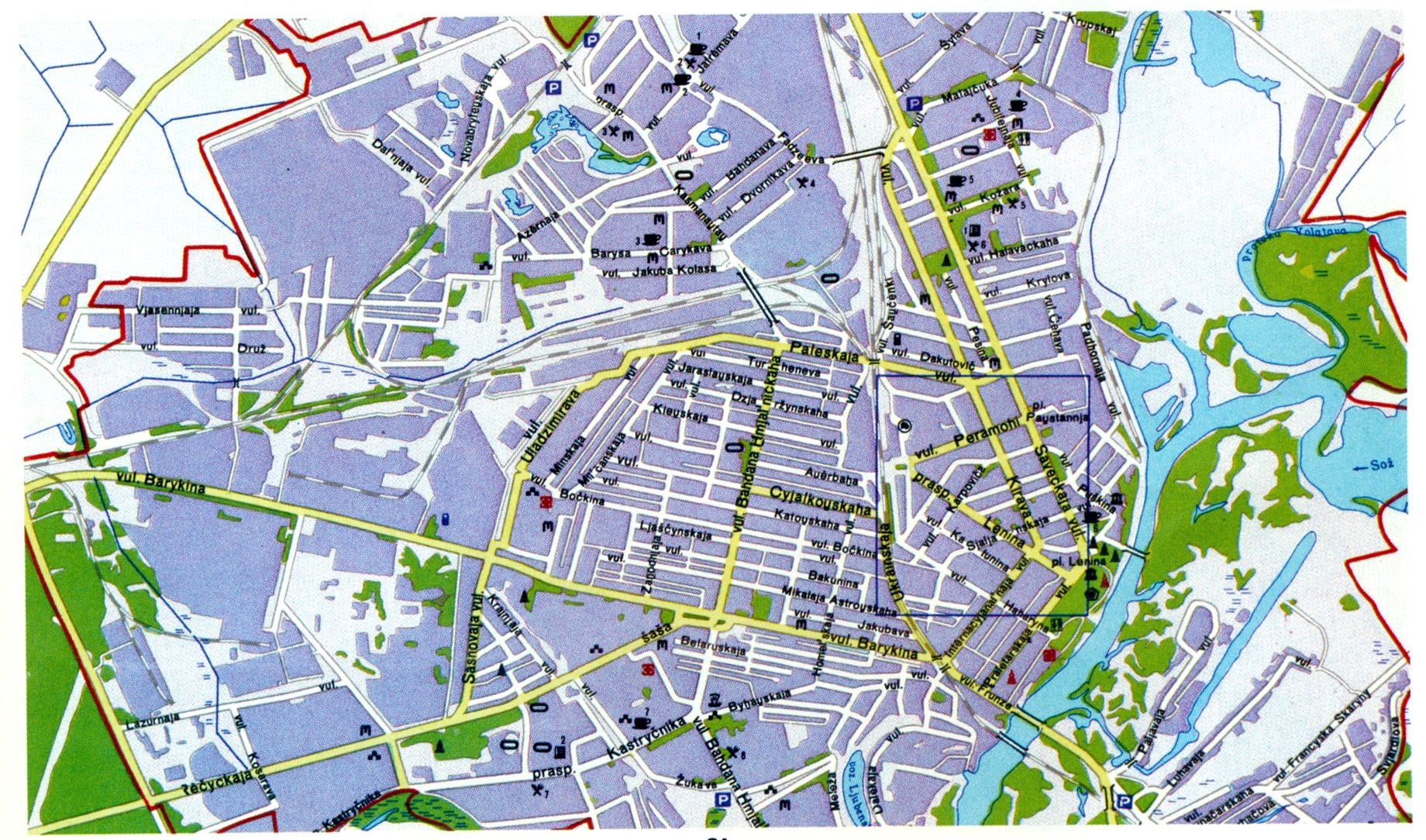 Map of the city of Gomel