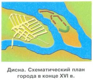 Дисна. Схематический план города в конце XVI в.