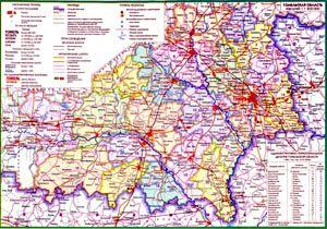 Карта Гомельской области