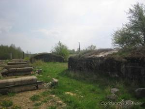 Бетонные доты рядом с остатками сарая