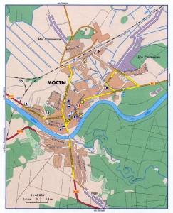 Карта города Мосты, масштаб 1:40000