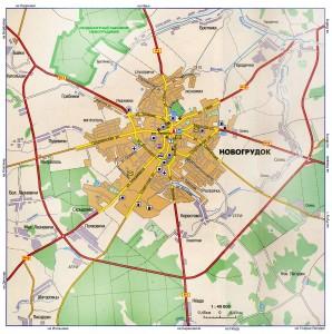 Карта города Новогрудок, масштаб 1:45000