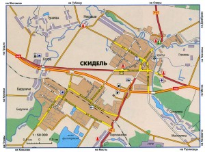 Карта города Скидель, масштаб 1:50000