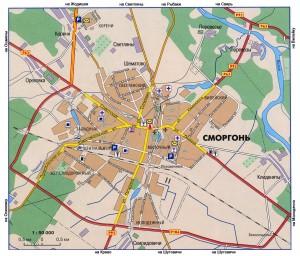 Карта города Сморгонь, масштаб 1:50000