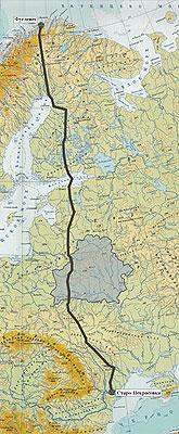 Карта прохождения дуги Струве