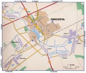 Карта города Свислочь, масштаб 1:40000